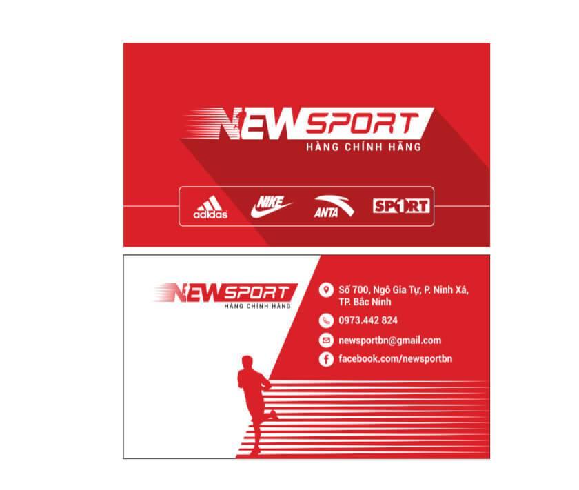 Mẫu Namecard - thiết kế mẫu danh thiếp card visit thương hiệu đồ thể thao Bắc Ninh NewSport