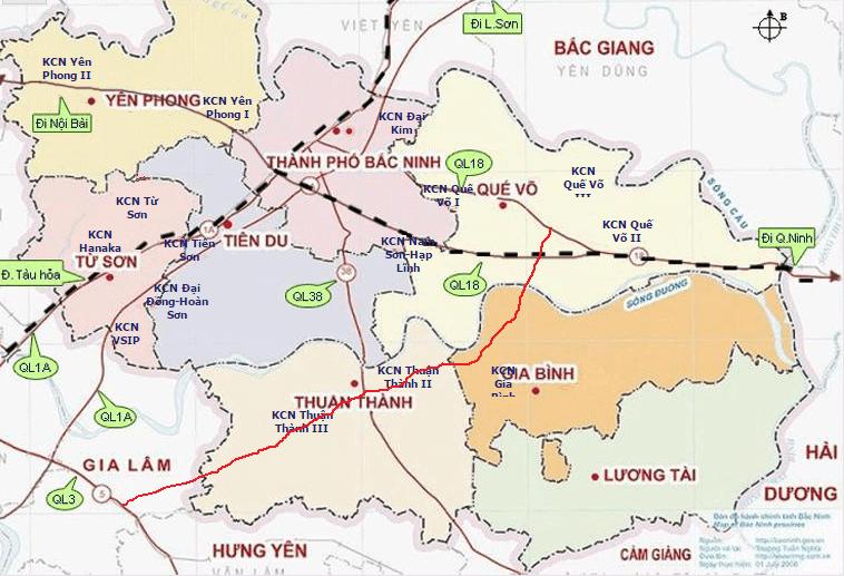 Bản đồ tỉnh Bắc Ninh và các quận huyện