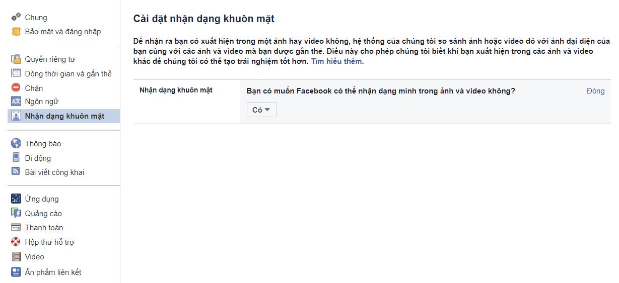 Cài đặt nhận diện khuôn mặt trên Facebook