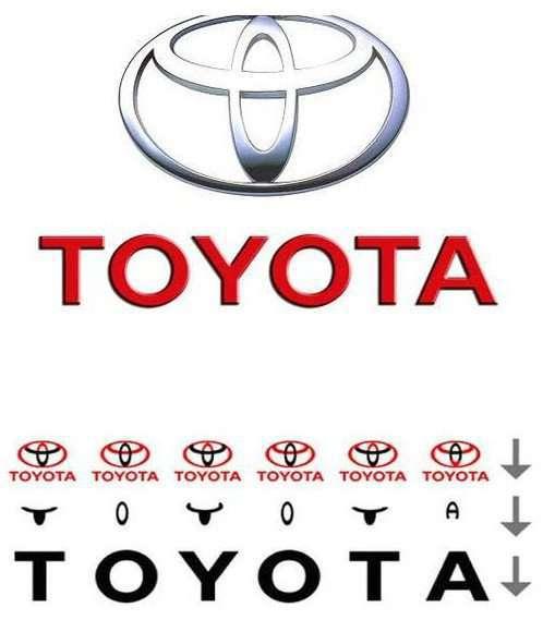 Nếu lấy riêng từng phần của logo, ta sẽ thấy dòng chữ Toyota xuất hiện.