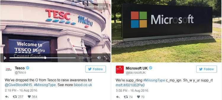 Chữ O trong tên của Tesco và Microsoft đã được gỡ bỏ hoặc làm mờ để ủng hộ chiến dịch này.
