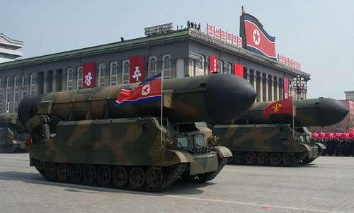 Tên lửa đạn đạo có khả năng mang đầu đạn hạt nhân của Triều Tiên. Ảnh: Sputnik.