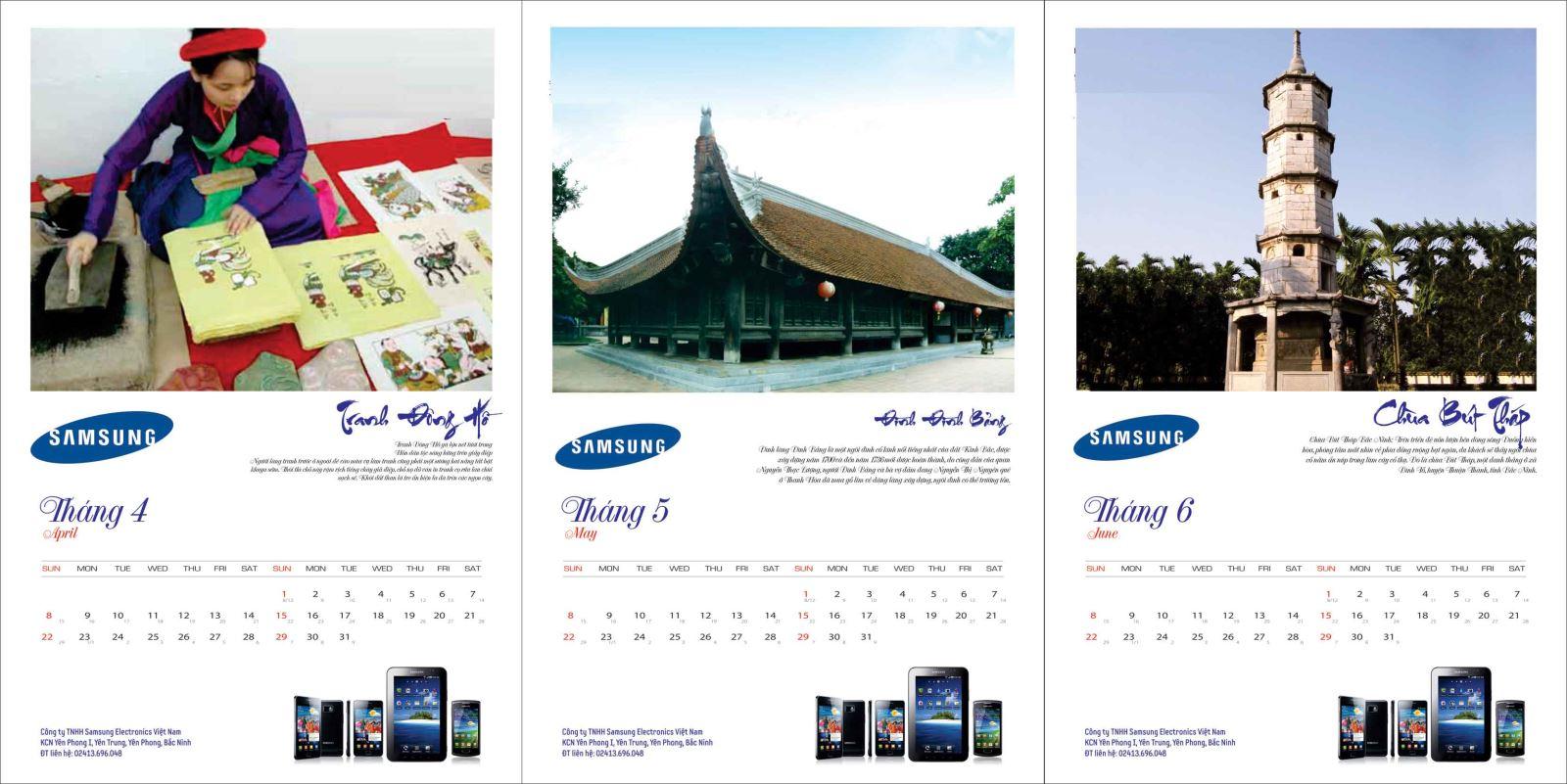 thiết kế lịch độc quyền công ty samsung 2019