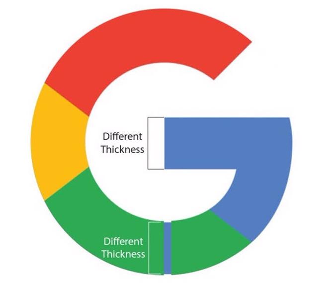 Độ dày của các phần trong logo cũng không đều nhau