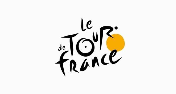 Logo giải đua xe đạp Tour de France với chữ O, U và R tạo nên hình ảnh một vận động viên đang cúi mình trên chiếc xe đạp