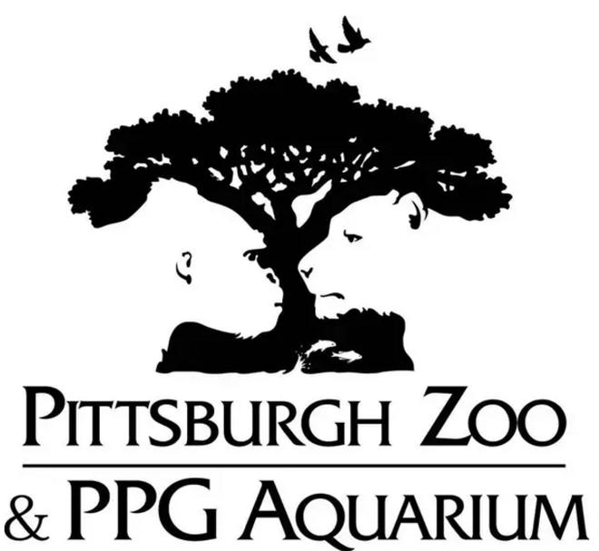 Logo vườn thú Pittsburgh và công viên hải dương PPG với không gian âm là hình những động vật như tinh tinh, sư tử, cá,...