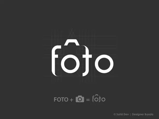 Một thiết kế logo vô cùng sáng tạo với cho các công ty hoạt động trong lĩnh vực nhiếp ảnh chữ Foto lồng ghép trong hình hài một chiếc máy ảnh