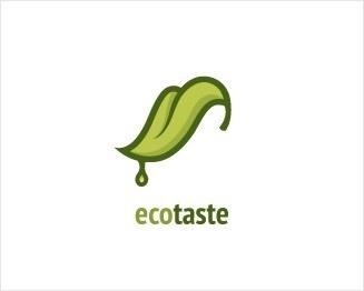 Logo công ty Ecotaste với hình ảnh chiếc lá xanh nhìn giống một chiếc lưỡi đang nếm thử hương vị của thiên nhiên