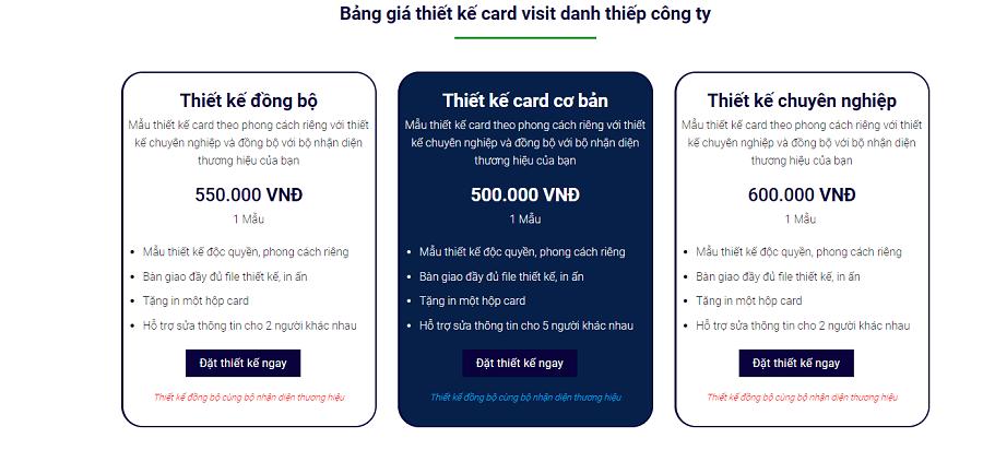 Bảng giá thiết kế name card Bắc Ninh tại IP Time